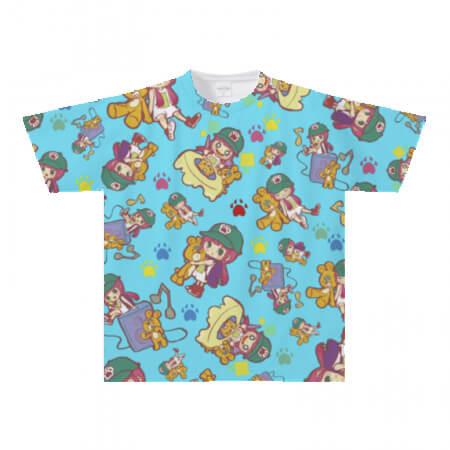 ポップな柄の全面プリントTシャツ