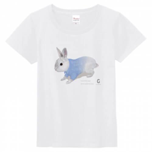 うさぎの可愛いイラストをプリントしたレディースTシャツ