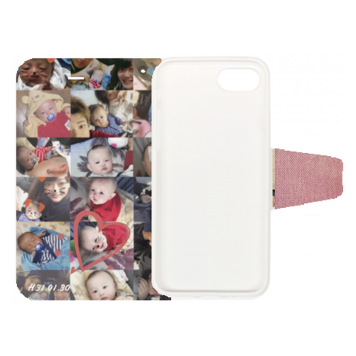 中面にはお子さんの写真をプリント!手帳型iPhoneケース