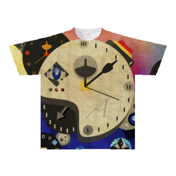 時計イラストを全面にプリントしたオリジナルTシャツ