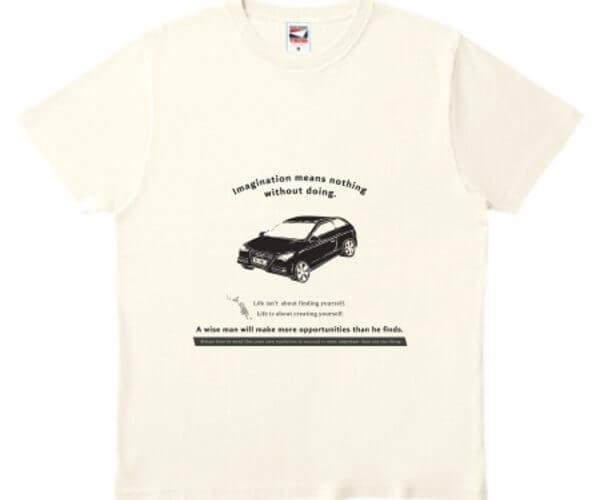 車デザインでクールなオリジナルTシャツを作成