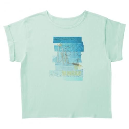 海のようなデザインのプリントTシャツを作成