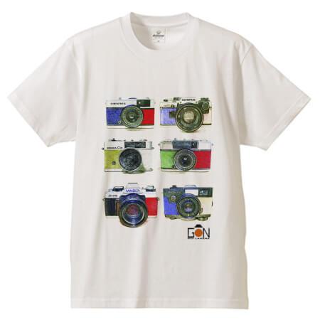 レトロなカメラのイラストをプリントしたTシャツ