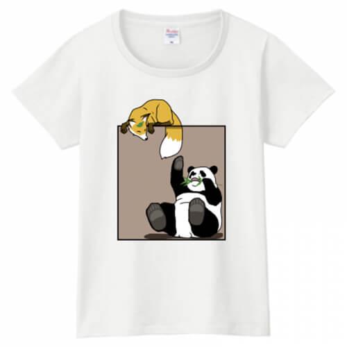 パンダとキツネのイラストプリントTシャツ