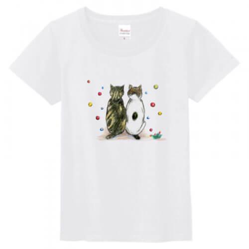 オリジナルの猫イラストのプリントシャツ