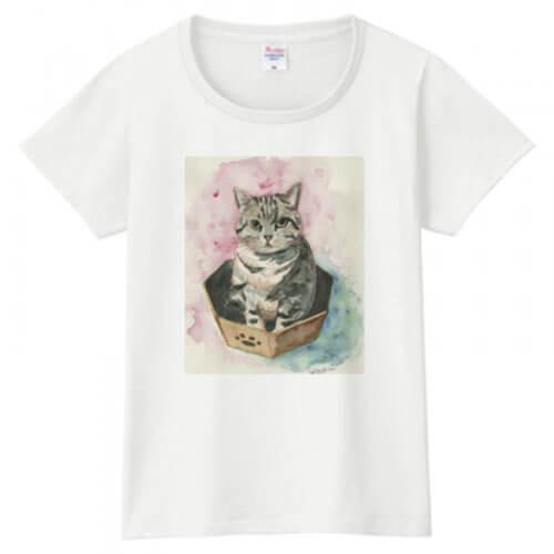 愛猫のイラストをプリントしてオリジナルTシャツを作成