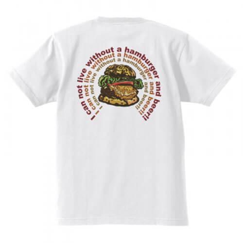 美味しそうなハンバーガーのイラストプリントTシャツ