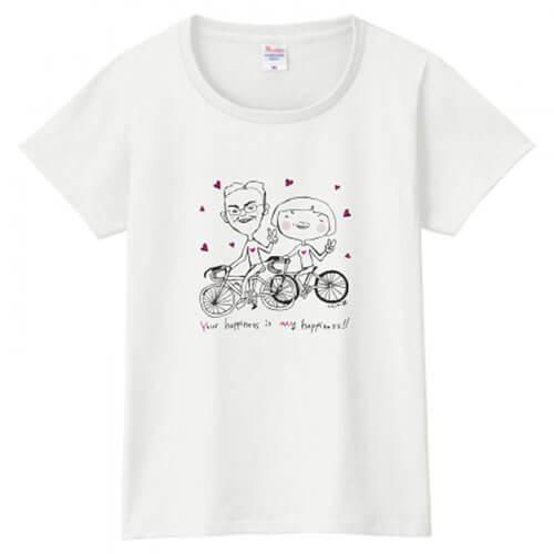 自作の似顔絵で夫婦のオリジナルTシャツを作成