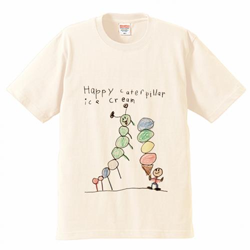 子供の手描きイラストでアイスクリームショップのオリジナルTシャツを作成