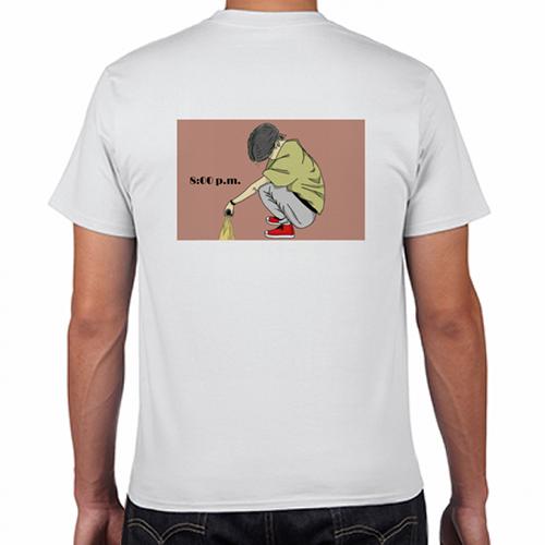 背中にイラストデザインをプリントしたオリジナルTシャツ