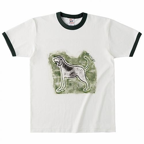 犬のイラストをプリントしたオリジナルのリンガーTシャツ