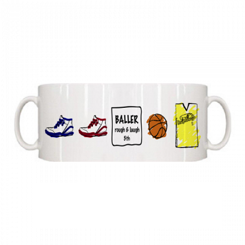 バスケのイラストデザインをプリントしたオリジナルマグカップ
