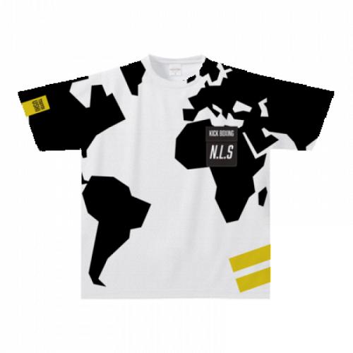 世界地図を全面にプリントしたキックボクシングのオリジナルTシャツ