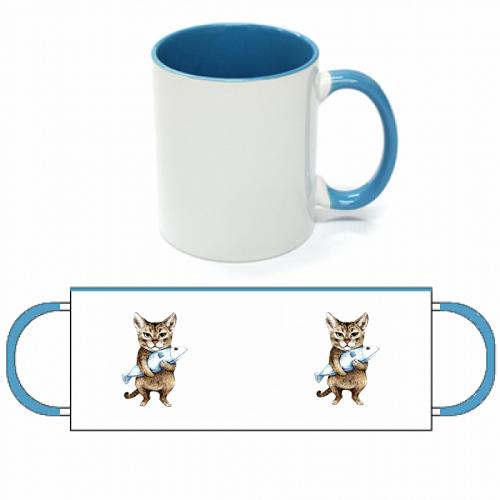 かわいい猫のオリジナルイラストをプリントした2トーンマグカップ