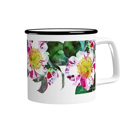 自作の花柄イラストを印刷したオリジナルマグカップ