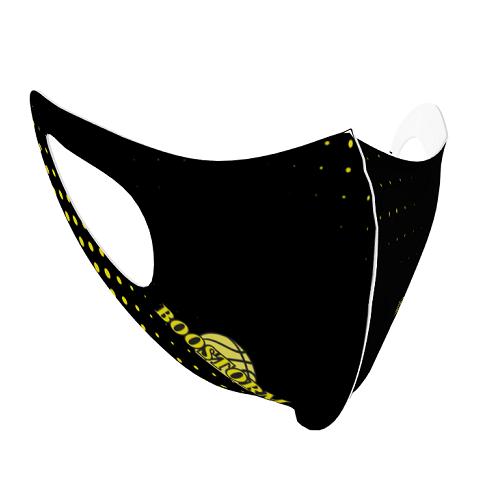 バスケチームのロゴをプリントした子供用のスポーツマスク