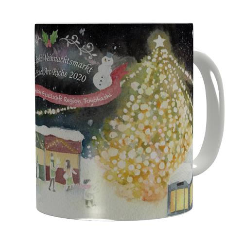 クリスマスのイラストをプリントしたマグカップ