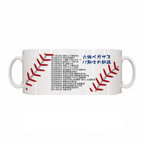 野球部の卒団記念にマグカップを作成