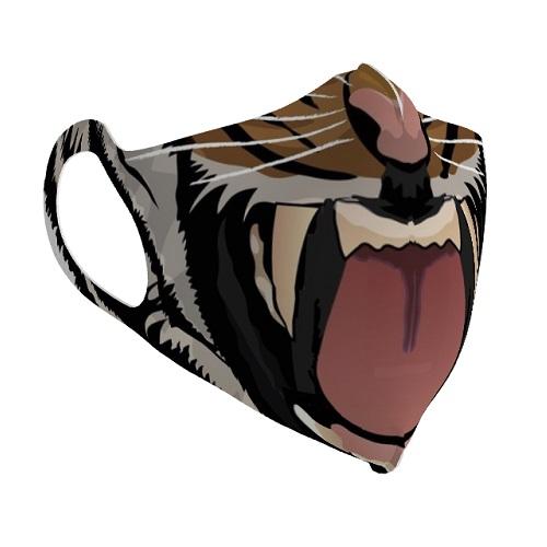 動物のイラストデザインをプリントした一体型のオリジナルマスク