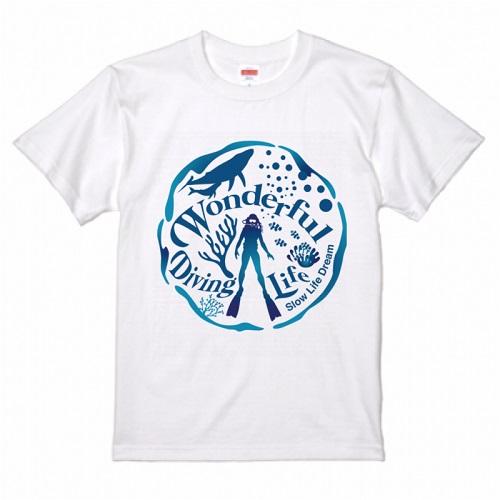 ダイビングのイラストをプリントしたオリジナルTシャツ