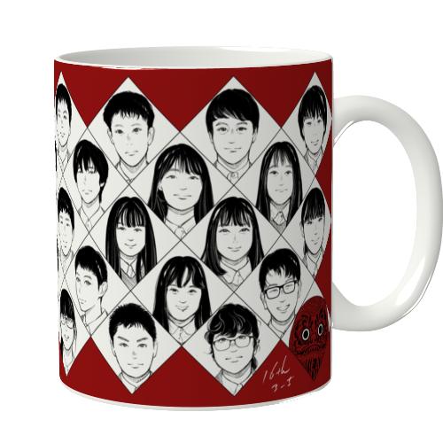 全面に似顔絵イラストをプリントしたマグカップ
