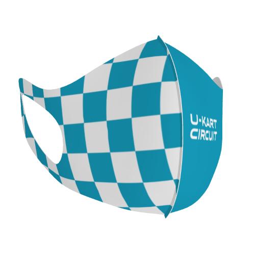 レーシングスクールのロゴやデザインをプリントした立体マスク