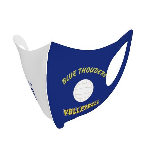 バレーボールチームのロゴをプリントした子供用のスポーツマスク