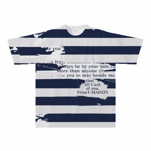 ボーダーデザインを全面にプリントしたオリジナルTシャツ