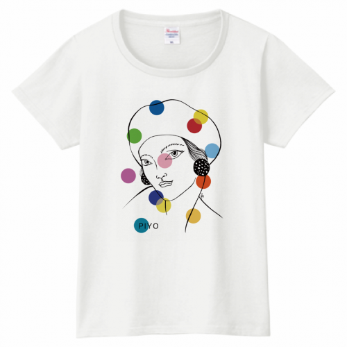 自作イラストをプリントしたおしゃれなレディースTシャツ