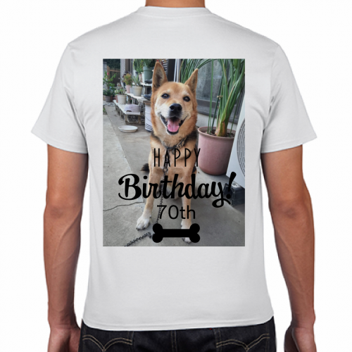70才のお祝いに愛犬の写真をプリントしたTシャツをプレゼント