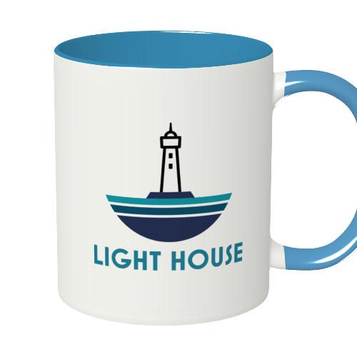 会社のイラストロゴをプリントしたマグカップ