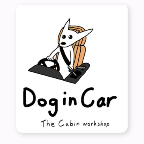 「犬が乗っています」注意喚起のオリジナルステッカーを作成