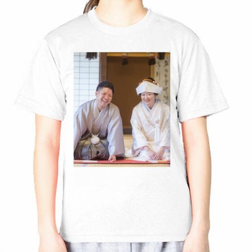 結婚式の写真をプリントして結婚祝いのTシャツを作成!